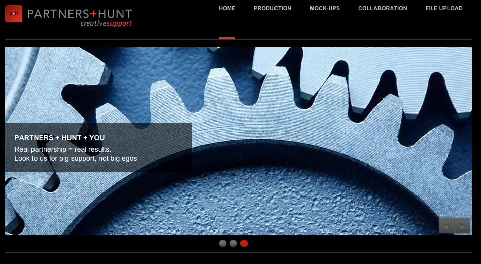 home page at Partners & Hunt with image of meshing gears
